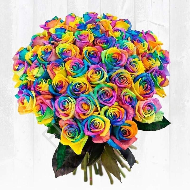 44 Rainbow Roses With Delivery In Nyc By Flordel