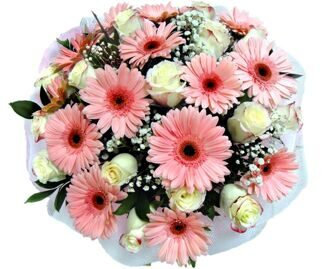 Bouquet of gerberas and white and pink roses