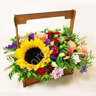 Wooden box with sunflowers