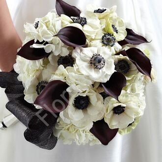 Bridal bouquet with callas and anemones