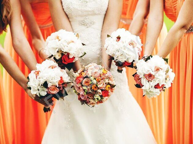 Large package - Orange rose bridal bouquet
