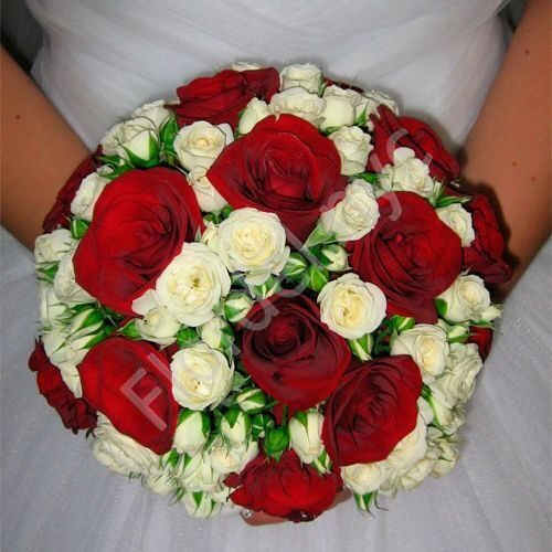 Bridal bouquet with white and red roses