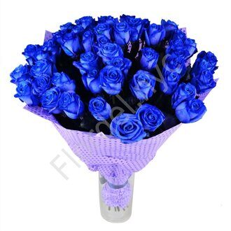 Hand tied bouquet of blue roses