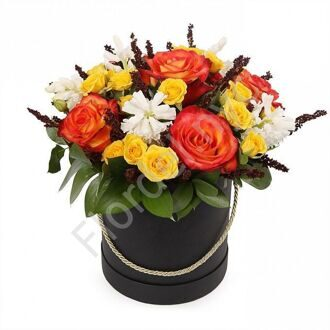 Box with roses and hyacinths