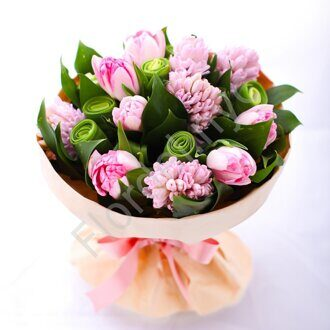 Bouquet of hyacinths and tulips