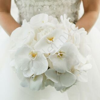 Bridal bouquet with roses and white flowers of orchid