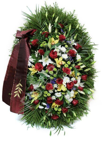 Large standing wreath with lilies and roses