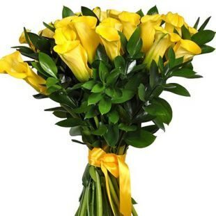 Yellow callas in bouquet