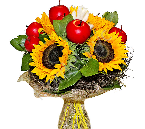 Sunflowers with apples