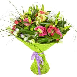 Bouquet of lilies and eustomas