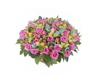 Basket of orchids with pink roses
