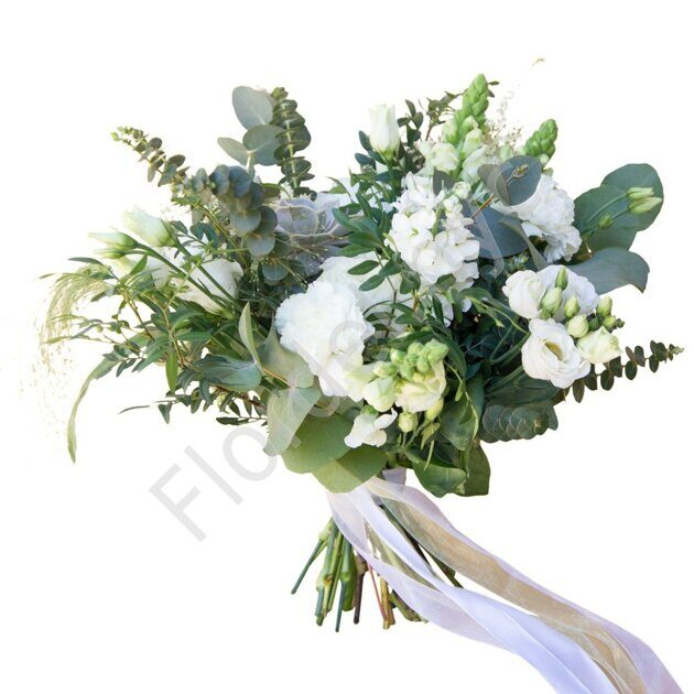 White bouquet with stock and eucalupltys