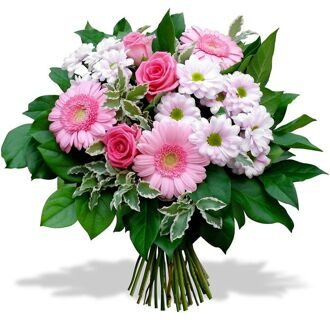 Bouquet of white chrysanthemums and pink gerberas