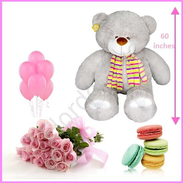 Pink combo with giant teddy bear