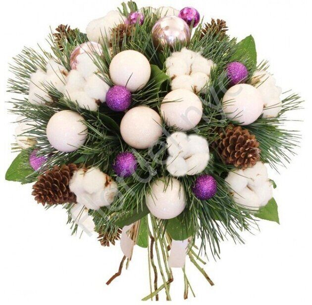 Christmas bouquet with cotton
