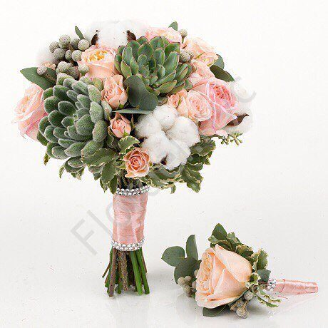 Deluxe package - Cotton and sucullent bridal bouquet