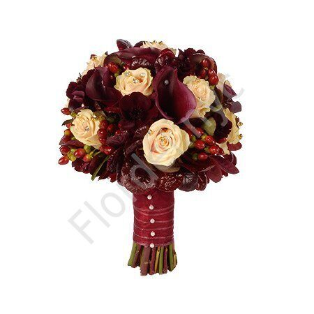 Deluxe package - Maroon bridal bouquet