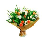 Bouquet of tulips and white eustoma