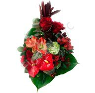 Red bouquet of anthuriums