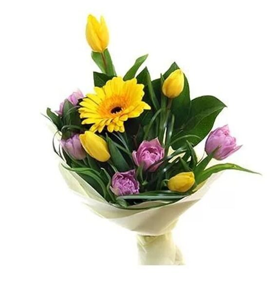 Yellow and pink tulips with gerbera