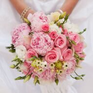 Bridal bouquet with pink peonies