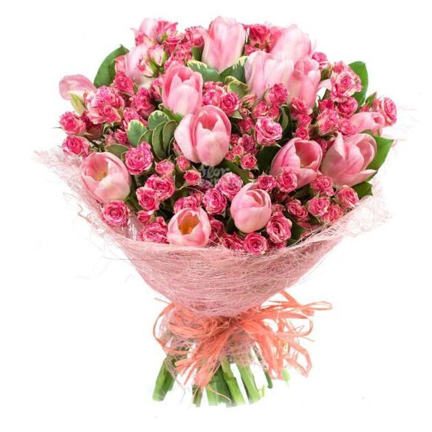 Pink tulips and pinj shrub roses