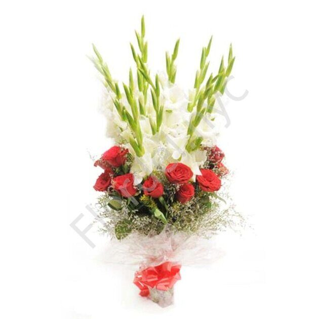 Gladiolus and roses