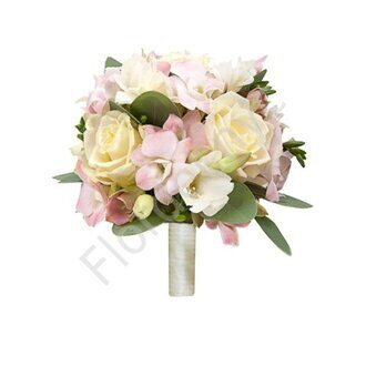 Pink bridal bouquet in holder