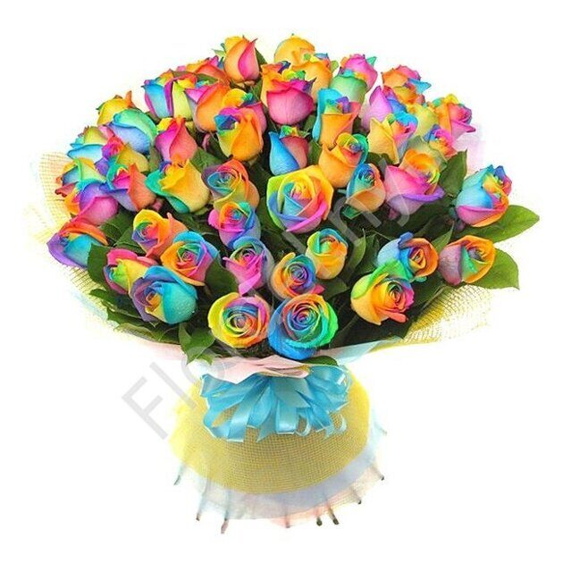 Rainbow roses in hand tied bouquet
