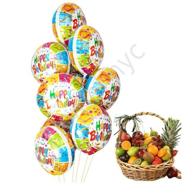 Birthday balloons set with fruit basket