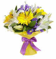 Bouquet of lilies and gerberas