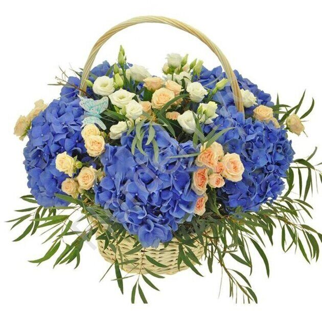 Hydrangea and roses basket