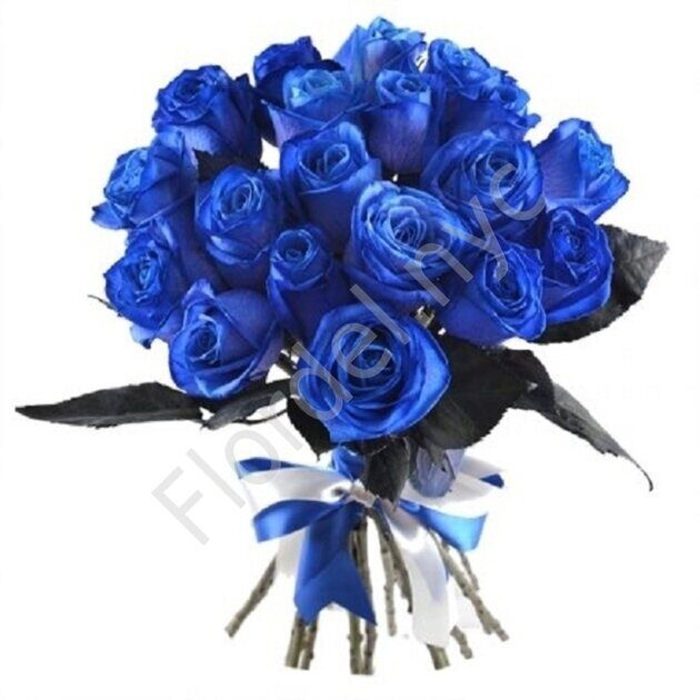 Blue roses with leafs