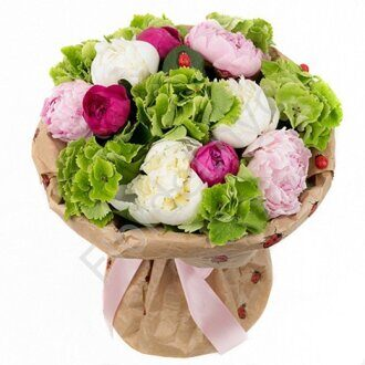 Basket of peonies and hydrangea