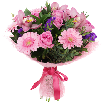 Bouquet of orchids and pink gerberas