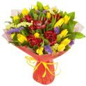 Bouquet of alstroemerias and tulips