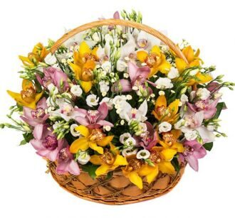 Basket of orchids and lisianthus