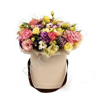 Box with roses and eustoma