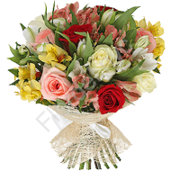 Arrangement of roses and alstroemerias