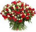 Red and white spray roses