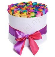 Rainbow roses in round box