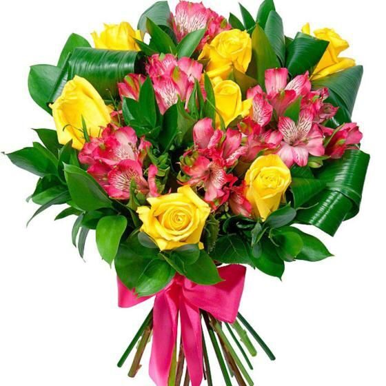 Bouquet of alstroemerias and yellow roses