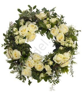 European wreath of white roses