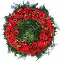 Wreath of red flowers and greenery + standing