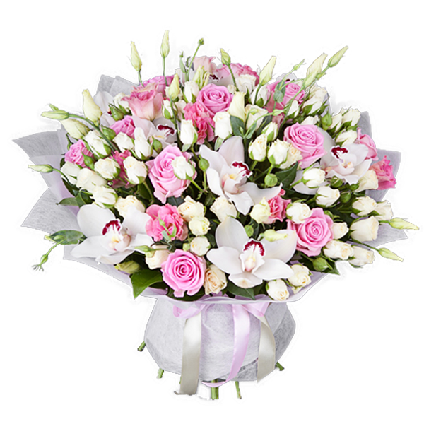 Bouquet of white orchids and pink roses