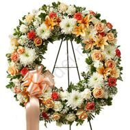 Gold funeral wreath