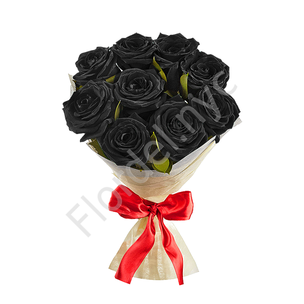 Black roses with red bow