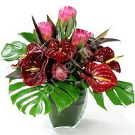 Anthurium and protea bouquet
