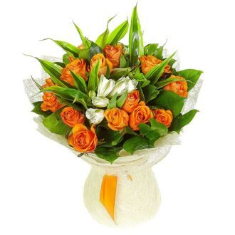 Alstroemerias and orange roses
