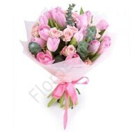 Bouquet with pink tulips